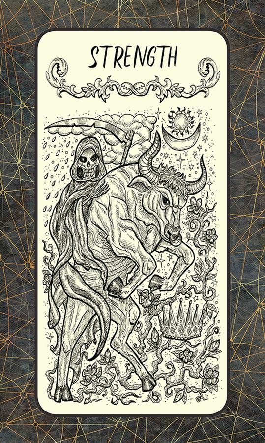 sterkte Major Arcana Tarot Card royalty-vrije illustratie