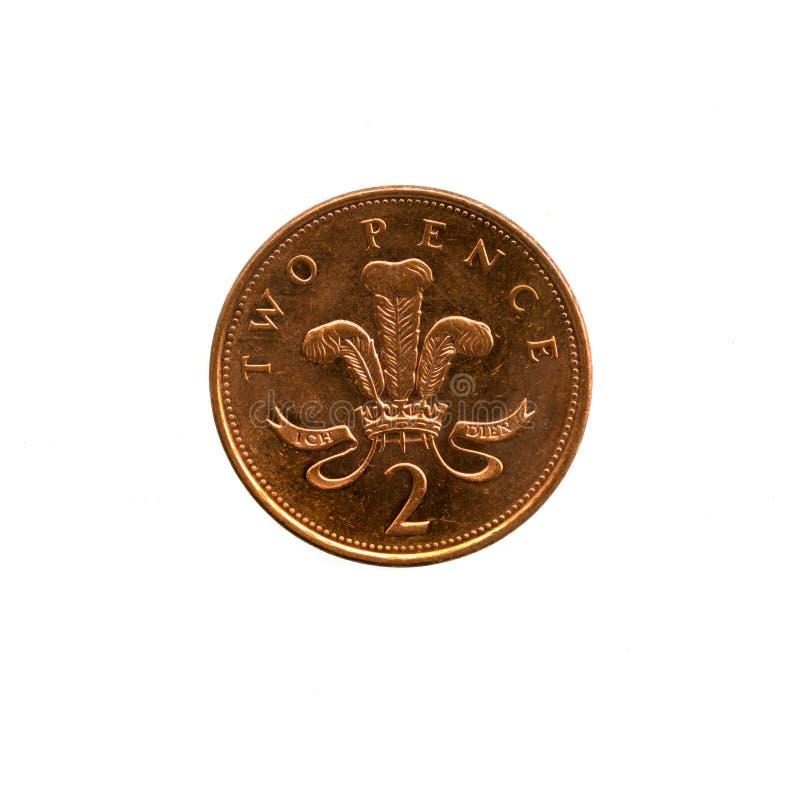 Sterling de 2 moedas de um centavo (2p) fotografia de stock