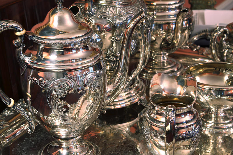 Sterling silver tea set stock photo