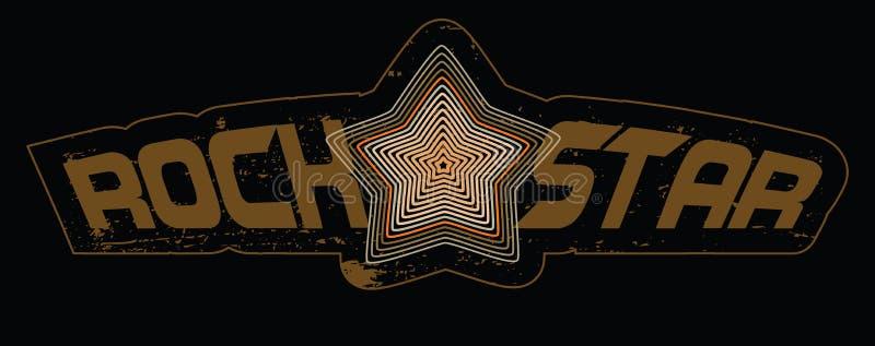 Stern über einem ` Rockstar ` Typografievektordesign lizenzfreie abbildung