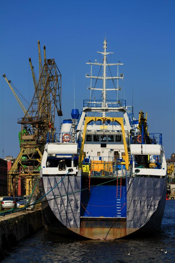 Stern of anchored ship stock photo