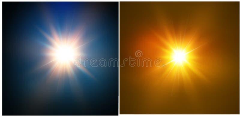 Stern auf einem blauen Hintergrund Helles Blinken Realistische Explosion mit Aufflackern Auch im corel abgehobenen Betrag lizenzfreie abbildung
