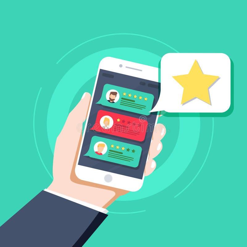 Stern - Benutzerbewertung, Bookmark und Bewertungsikone in der Blase über Handy lizenzfreie abbildung