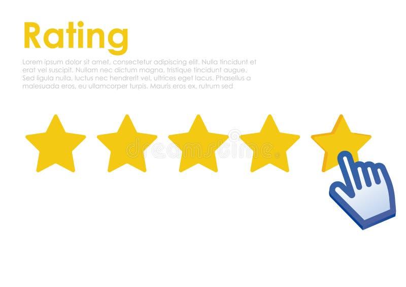 Stern-Bewertung mit Cursor auf Website Feedback für Benutzer online stock abbildung