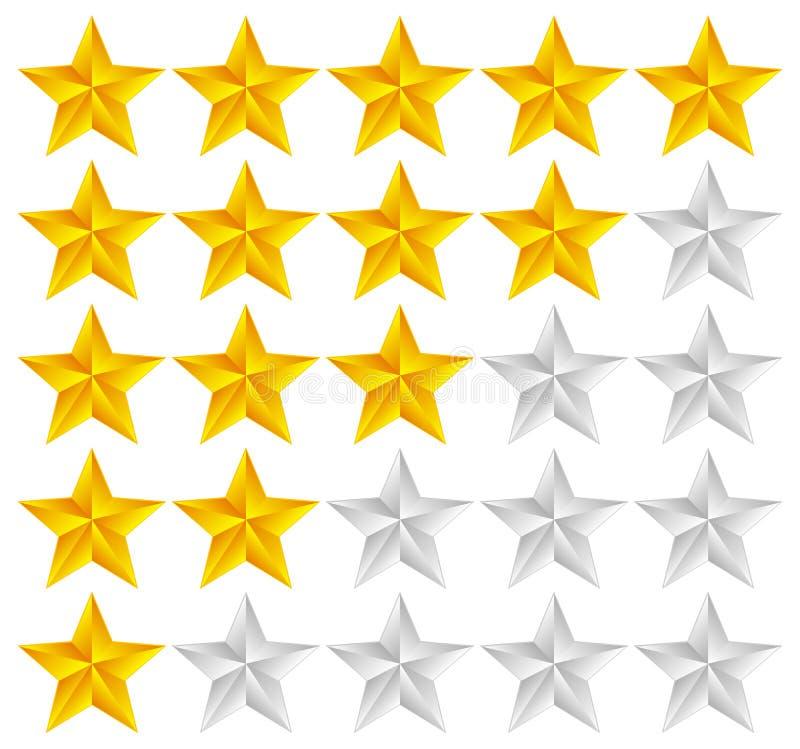 Stern-Bewertungs-Schablonen-Vektor mit Sternen 3d lizenzfreie abbildung