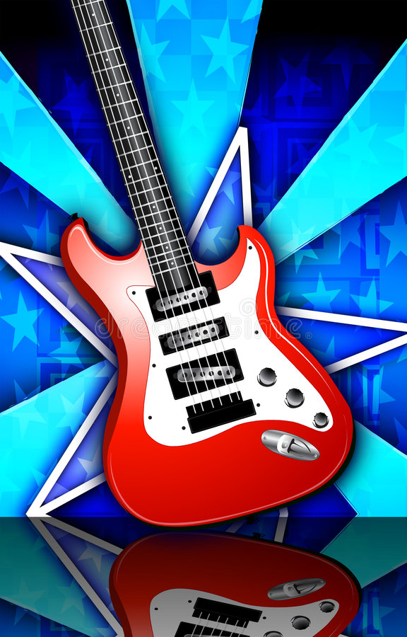 Stern Birst rotes Felsen-Gitarren-Plakat stock abbildung