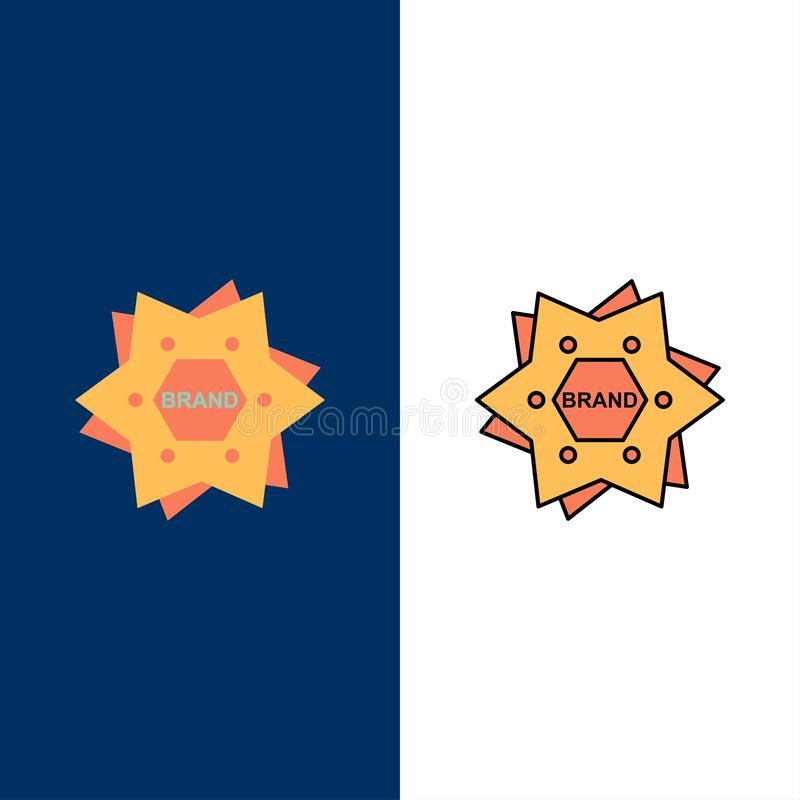 Stern, brennend, Marke, Logo, Form-Ikonen ein Ebene und Linie gefüllte Ikone stellten Vektor-blauen Hintergrund ein lizenzfreie abbildung