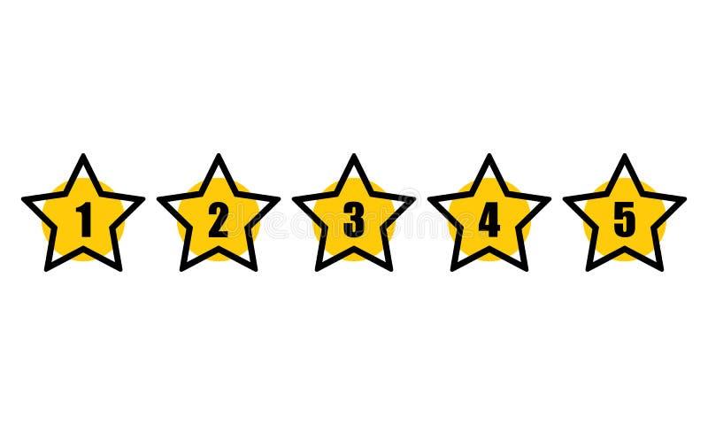 Stern, der minimale Designschwarzlinie veranschlagt Fünf-Sterneratenikone Feedback-Konzept Bewertungssystem Positiver Bericht lizenzfreie abbildung