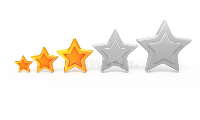Stern des Gold drei für Klassifizierung lizenzfreie abbildung