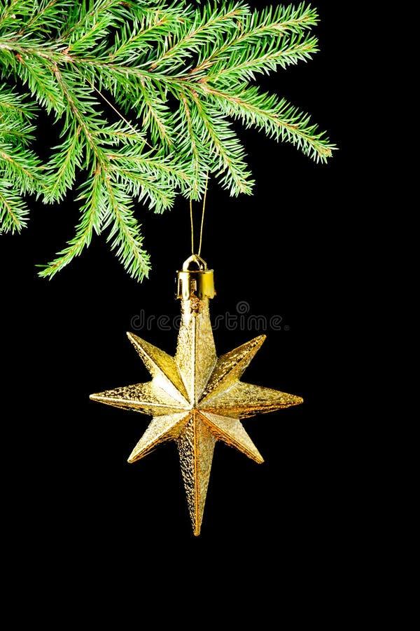Stern des Gold (en) auf schwarzem Hintergrund lizenzfreie stockfotografie