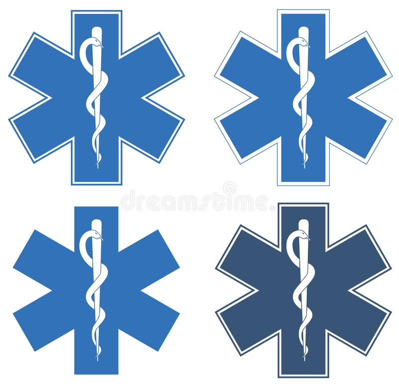 Stern des Lebens Blauer sechs-spitzer Stern in der Mitte - der weiße Rod von Asclepius lizenzfreie stockbilder
