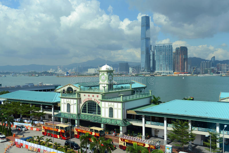 Stern-Fähren-zentraler Pier und Victoria Harbour, Hong Kong lizenzfreie stockfotografie