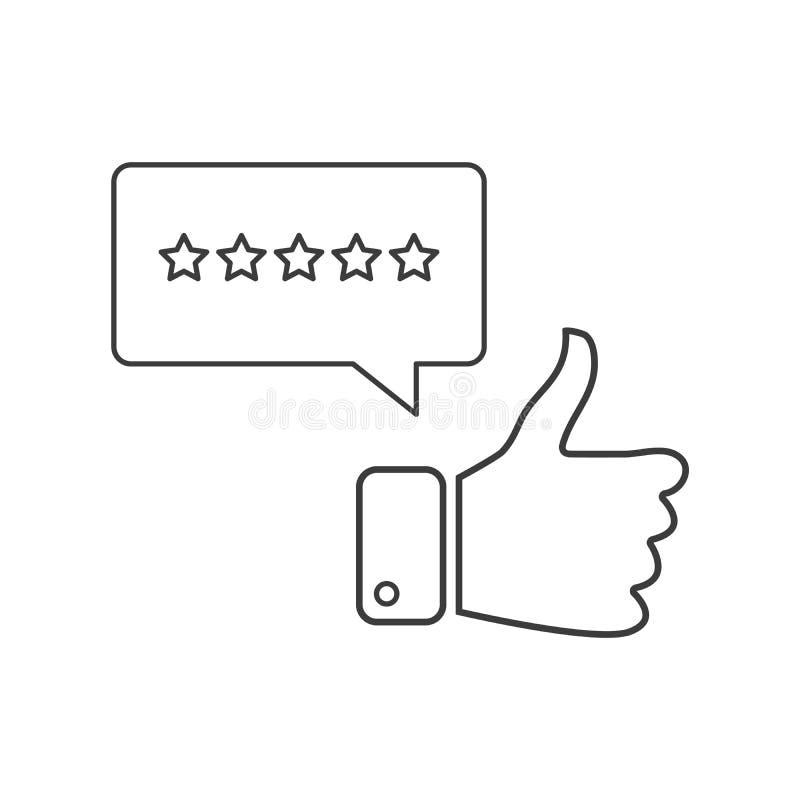 Stern fünf, der lineare Ikone veranschlagt Ausgezeichneter Bericht und Feedback des Kunden Dünnes Zeilendarstellung klassifizieru stock abbildung