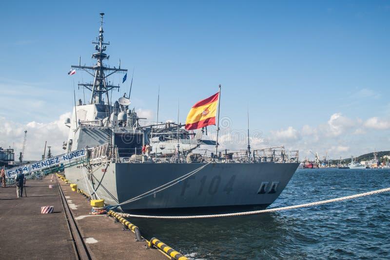 Stern Hiszpański okręt wojenny w schronieniu zdjęcie stock