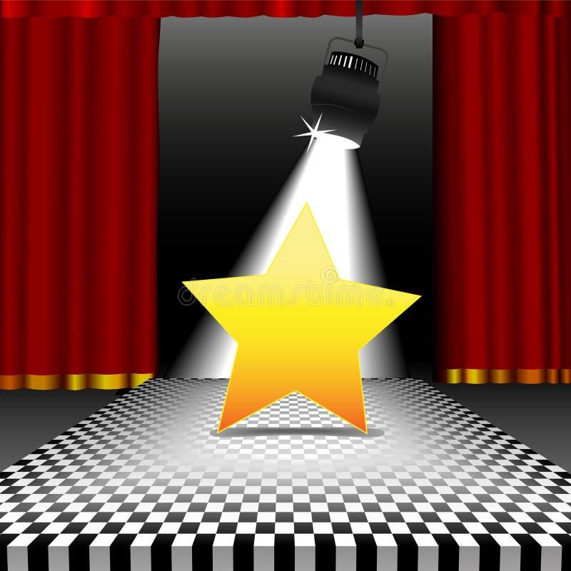 Stern im Scheinwerfer auf Discokontrolleurfußboden stock abbildung