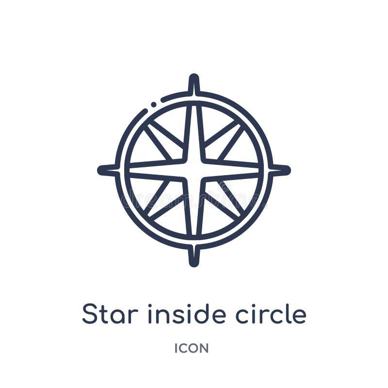 Stern innerhalb der Kreisikone von der Seeentwurfssammlung Dünne Linie Stern innerhalb der Kreisikone lokalisiert auf weißem Hi stock abbildung