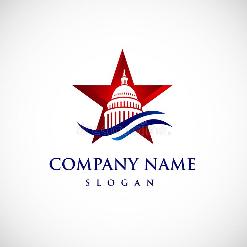 Stern-Kapitolgebäudelogo Regierungs-Ikone erstklassig lizenzfreie abbildung