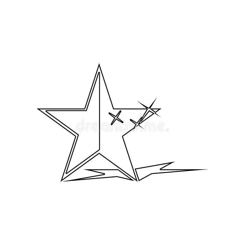 Stern mit Schattenikone Element von Sternen f?r bewegliches Konzept und Netz Appsikone Entwurf, d?nne Linie Ikone f?r Websiteentw vektor abbildung