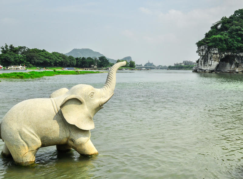 Stern-Park und Karst Yangshuo Guilins China sieben. stockbild