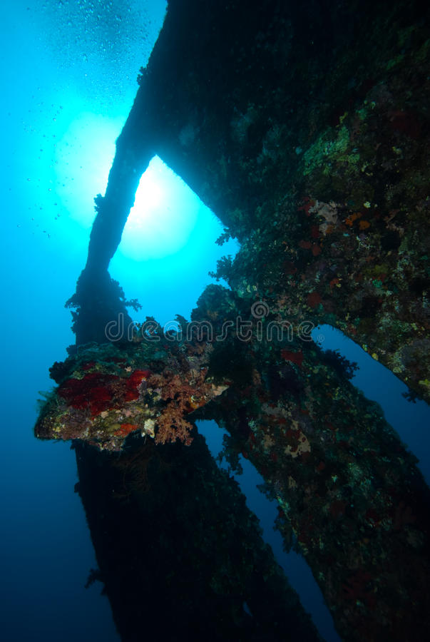 The stern section of the shipwreck stock photos