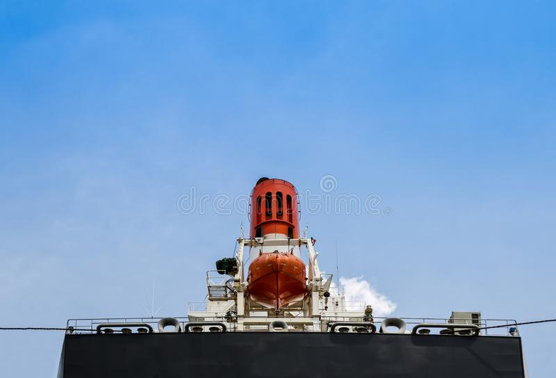Stern ship with safety lifeboat onboard Aft stock photos