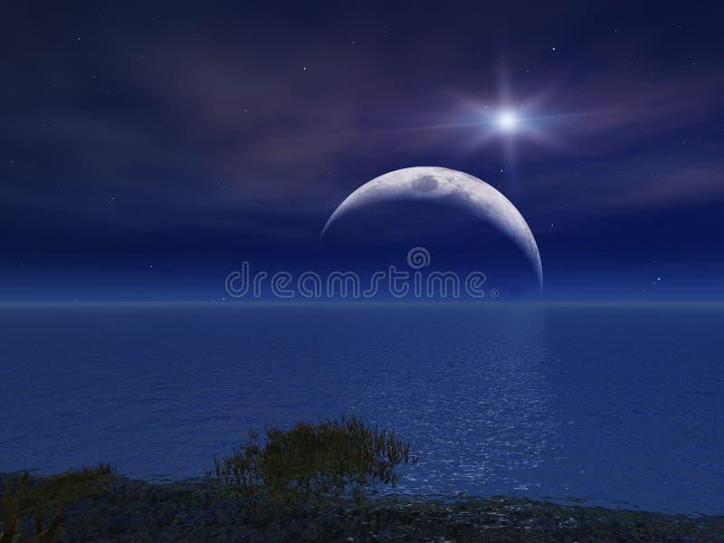 Stern und Nacht Moon über Meer lizenzfreie abbildung