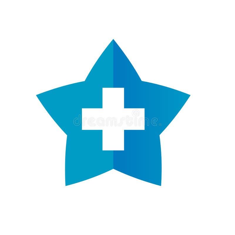 Stern und Plusikonen-Symbol, Positiv und Stern-Form Logo Design, Vektor-Illustration stock abbildung