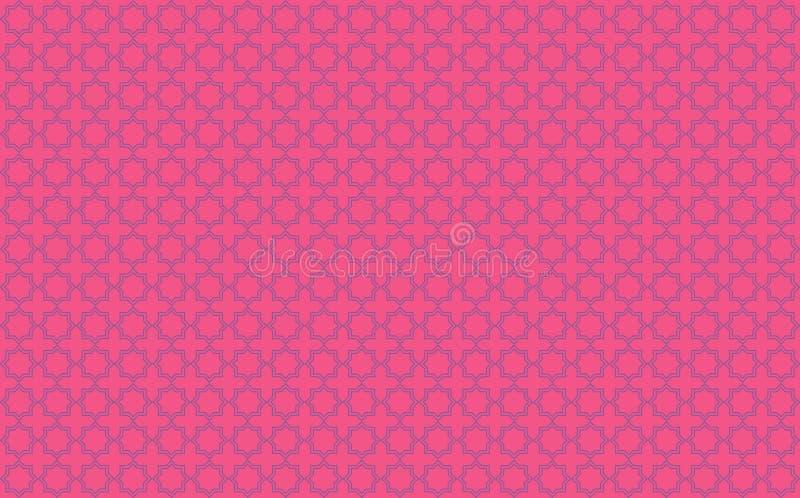 Stern und querer Fliese ähnlicher Entwurf mit blauen Akzenten auf dem rosa Neonhintergrund angespornt durch die marokkanische Fli stock abbildung