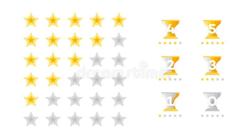 5 Stern-Veranschlagen Vektor-Sammlung mit flach gelben Stern-Ikonen diese Nachahmungs-goldene Sterne Schablone für Web-Auslegung lizenzfreie abbildung