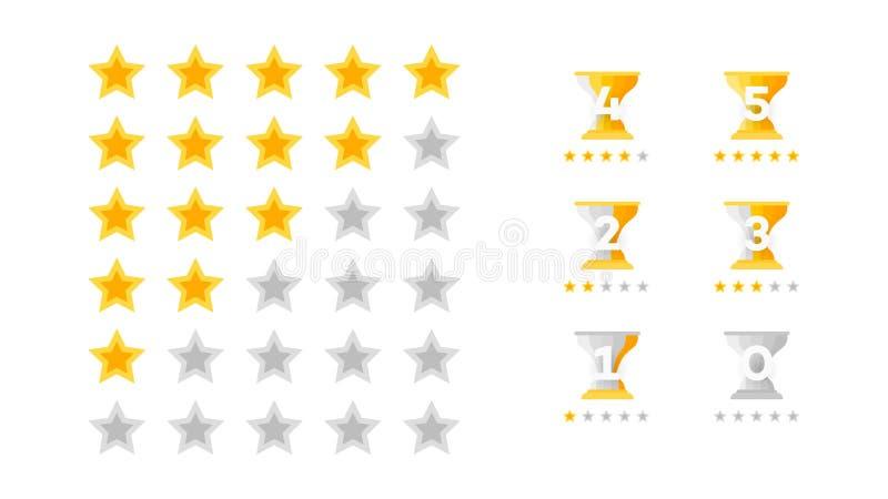 5 Stern-Veranschlagen Vektor-Sammlung mit flach gelben Stern-Ikonen diese Nachahmungs-goldene Sterne Schablone für Web-Auslegung stock abbildung