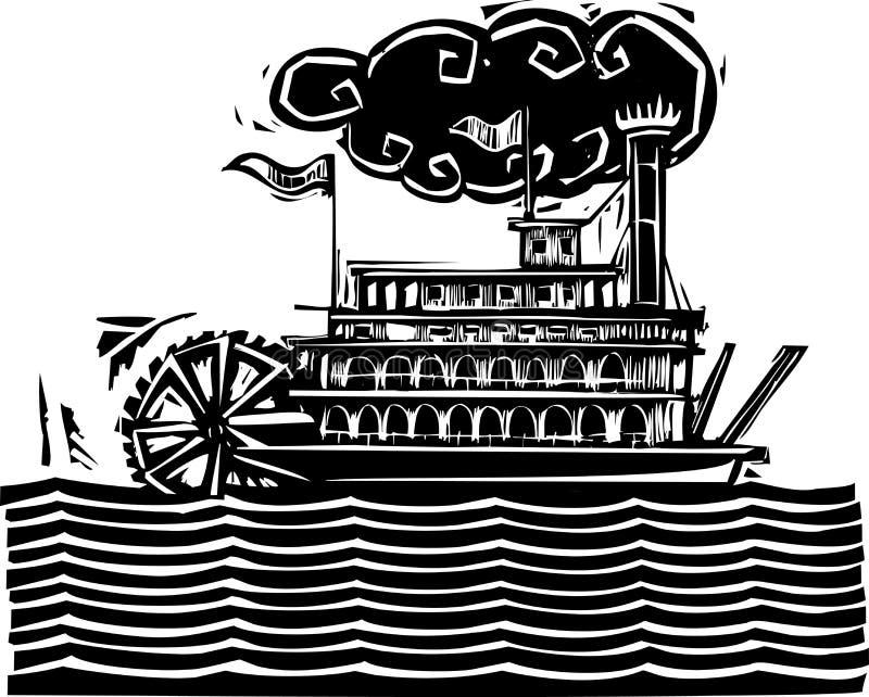 Stern wheel Riverboat in waves stock illustration