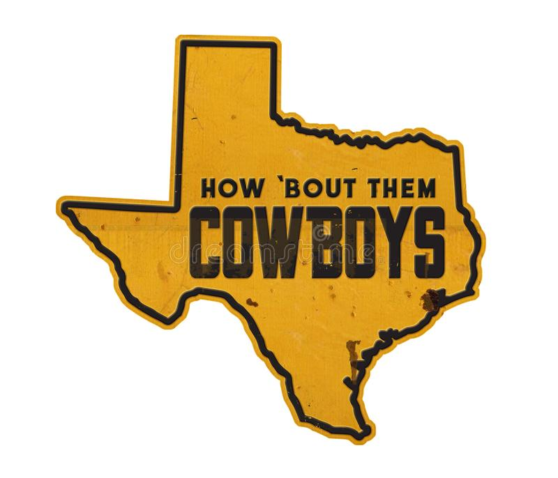 Stern-Zustand Dallas Cowboys Texas State Outlines Tin Sign Street The Lone stock abbildung