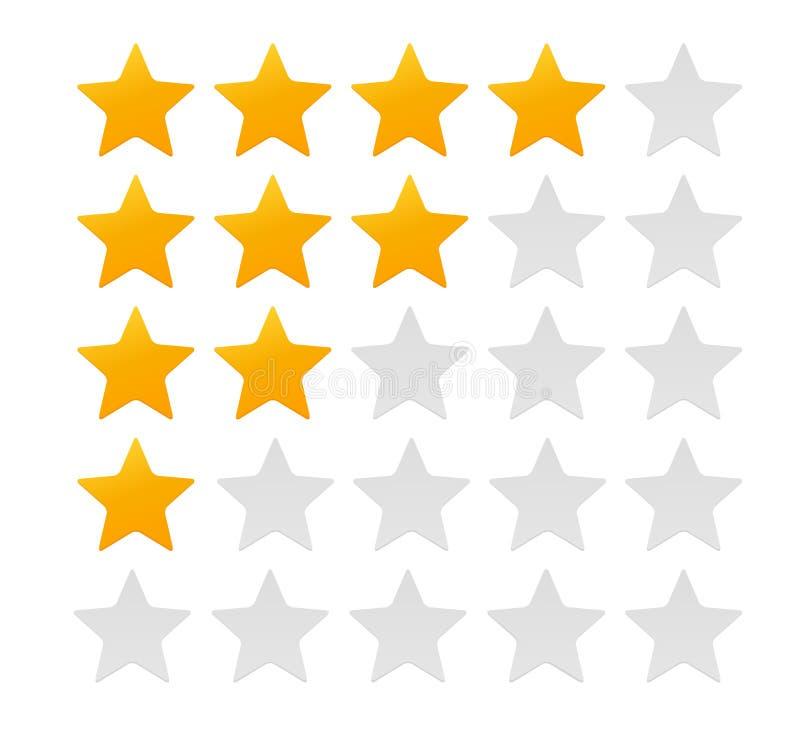 Sternbewertung Bewertungs-System und positives Bericht-Zeichen Auch im corel abgehobenen Betrag stock abbildung