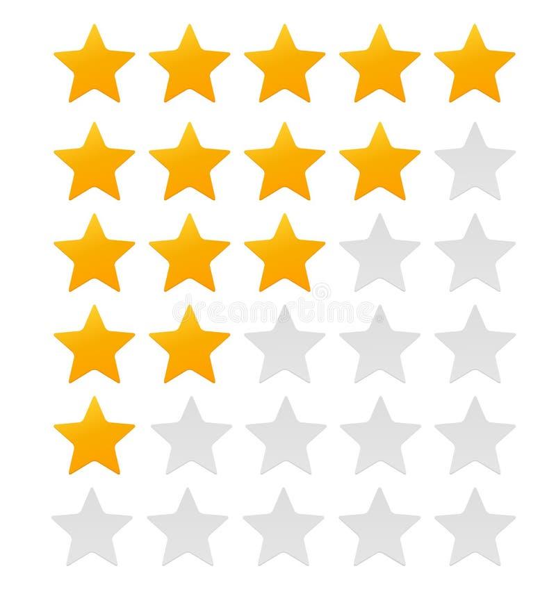Sternbewertung Bewertungs-System und positives Bericht-Zeichen Auch im corel abgehobenen Betrag lizenzfreie abbildung