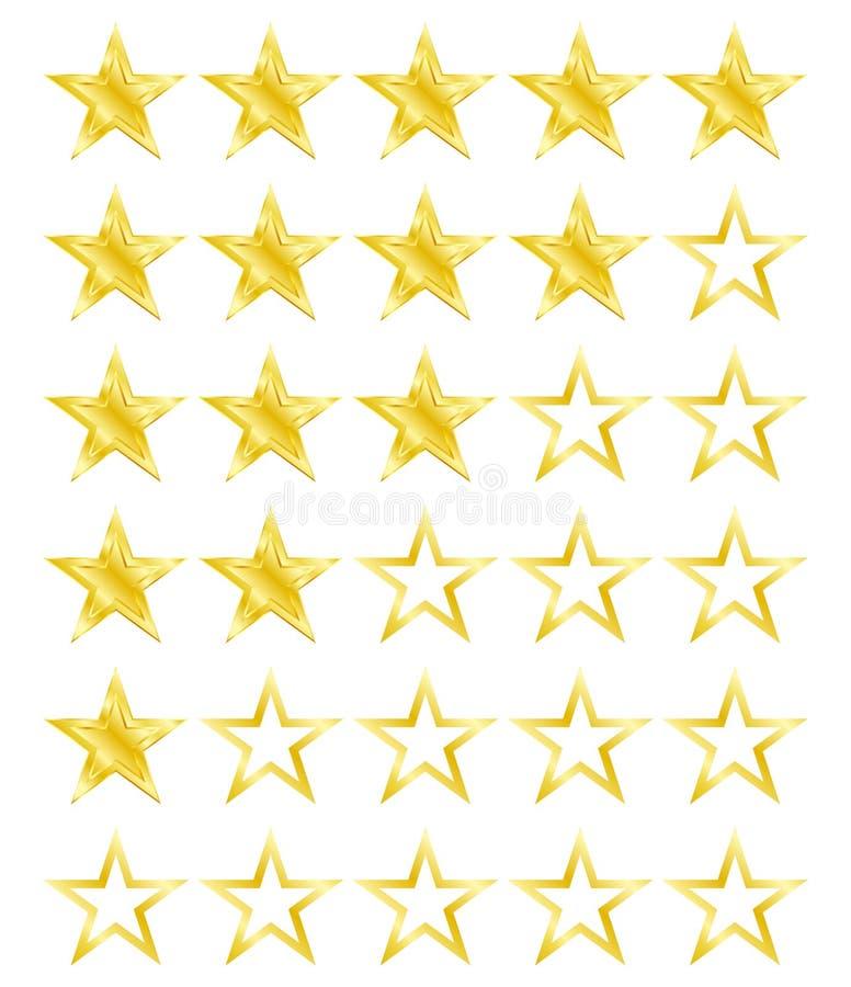 Sternbewertung für 0 - 5 Sterne Beste Bewertung lizenzfreie abbildung