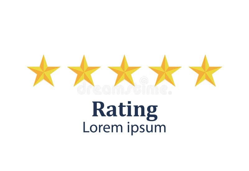 Sternbewertung Feedback-Konzept Bewertungssystem Positiver Bericht Flaches Design der Vektorillustration Lokalisiert auf Weiß stock abbildung