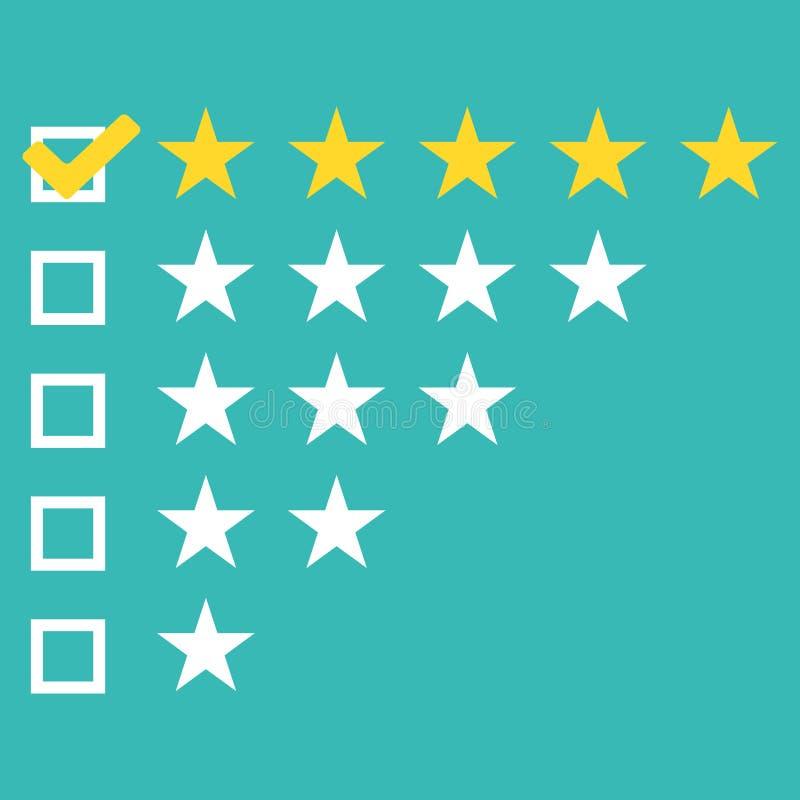 Sternbewertung Spielt flacher gelber Knopf des Netzes fünf Bewertungen die Hauptrolle Bewertungssystem Positiver Bericht Vektoril lizenzfreie abbildung