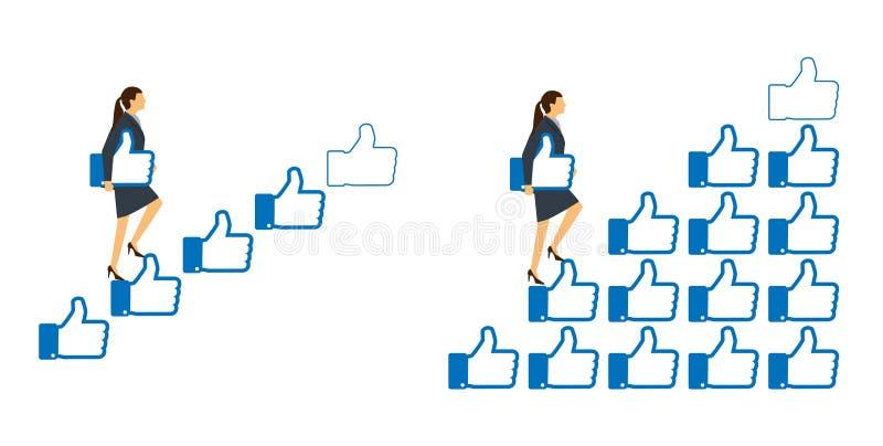 Sternbewertungskonzept Die Geschäftsfrau, die auf den Treppenschritt hält a geht, mögen Zeichen in der Hand, fünf zu geben lizenzfreie abbildung