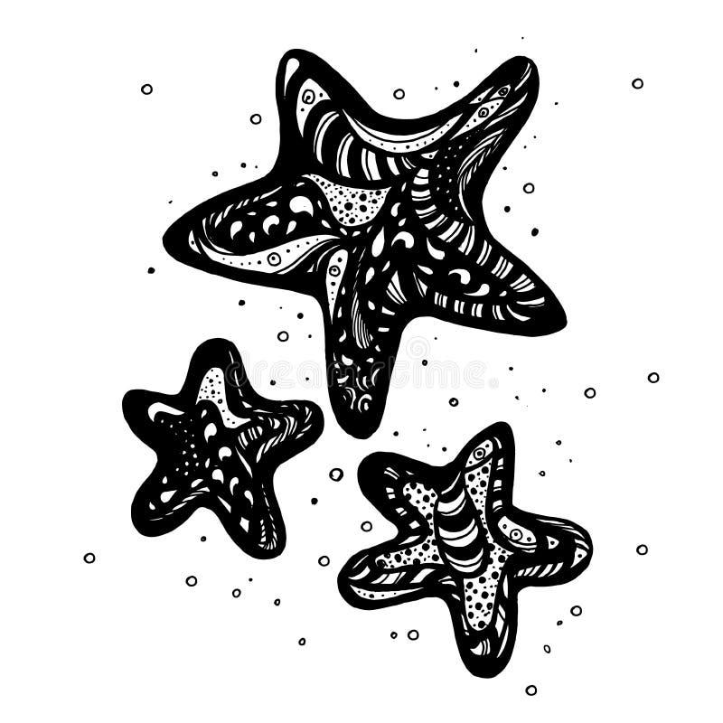 Sterne übergeben gezogene Illustration mit Handbeschriftung Hand gezeichnete Auslegungelemente stock abbildung