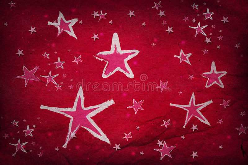 Sterne auf rotem Papier stockbild