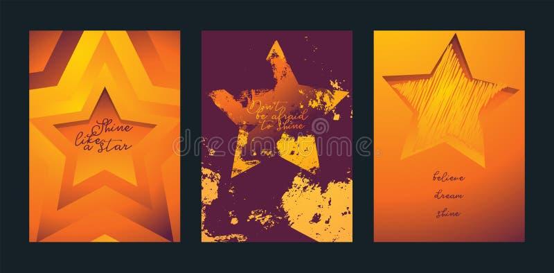 Sterne in der unterschiedlichen Artkartenstapel-Vektorillustration Aufpassende Sterne Glanz wie ein Stern Don t hat Angst zu glän vektor abbildung