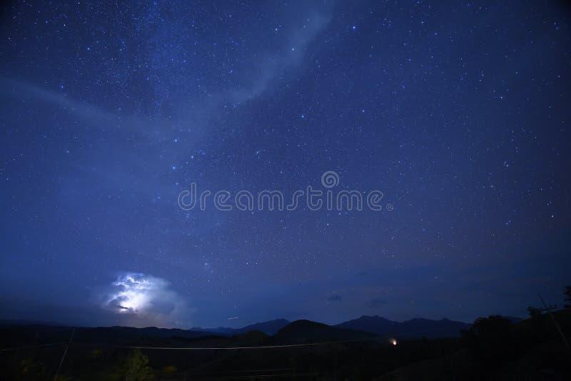 Sterne des nächtlichen Himmels mit Milchstraße lizenzfreies stockbild