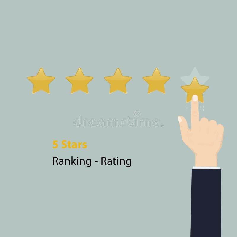 5 Sterne, die Konzept veranschlagen oder harken Goldene Sterne veranschlagen oder harkend f stock abbildung