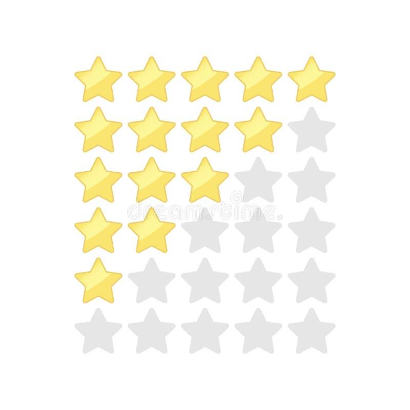 Sterne, die Vektorbilder veranschlagen Knopf-Ikonensatz des Gold- und des Silbersfünf Sternes ordnender stock abbildung
