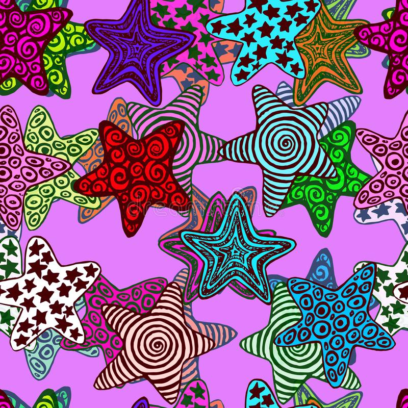 Sterne, Hand gezeichnetes Gekritzel auf purpurrotem Hintergrund vektor abbildung