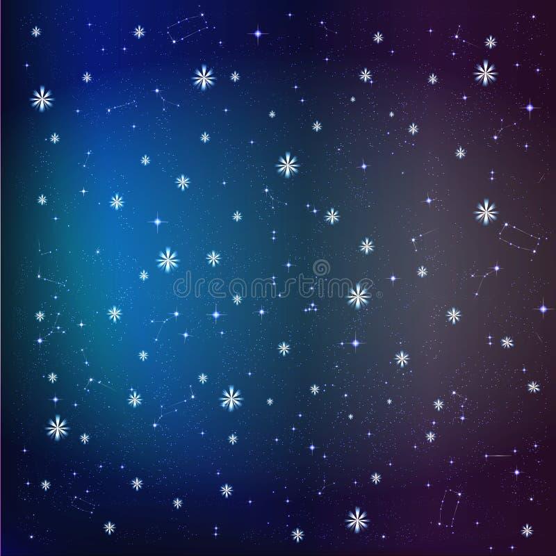 Sterne im Hintergrund des nächtlichen Himmels lizenzfreie abbildung
