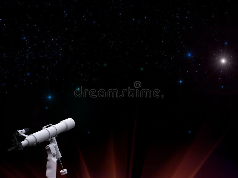 Sterne im nächtlichen Himmel mit Teleskop vektor abbildung