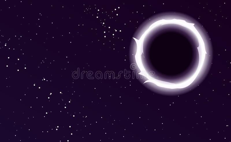 Sterne im Platz Sternenklarer Himmelhintergrund Vektorillustration des schwarzen Lochs lizenzfreie abbildung