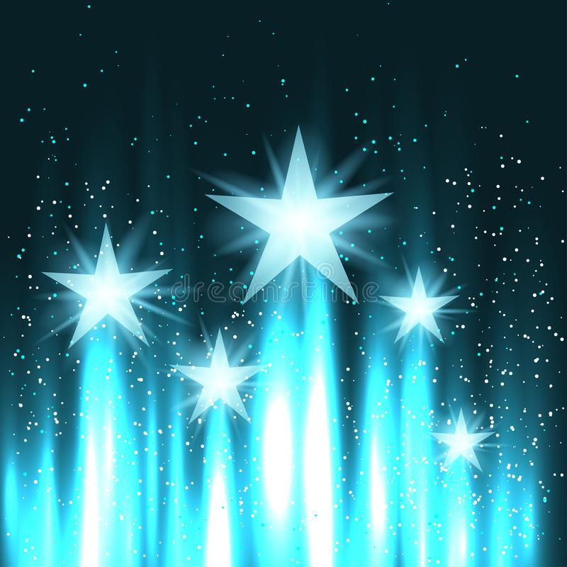Sterne steigen oben in den Himmel stock abbildung