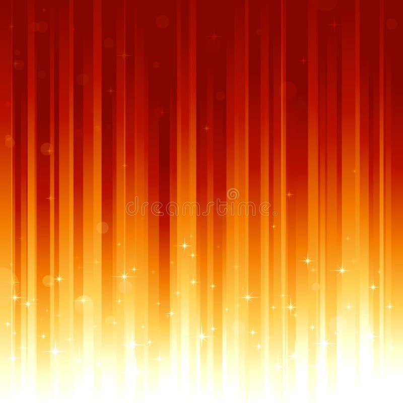 Sterne und defocused Lichtpunkte auf rotem goldenem verti lizenzfreie abbildung
